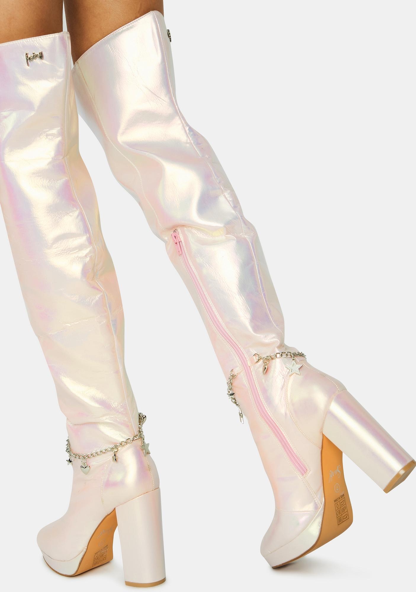 Sparkl Fairy Couture Pink Fairy Star Thigh High Boots