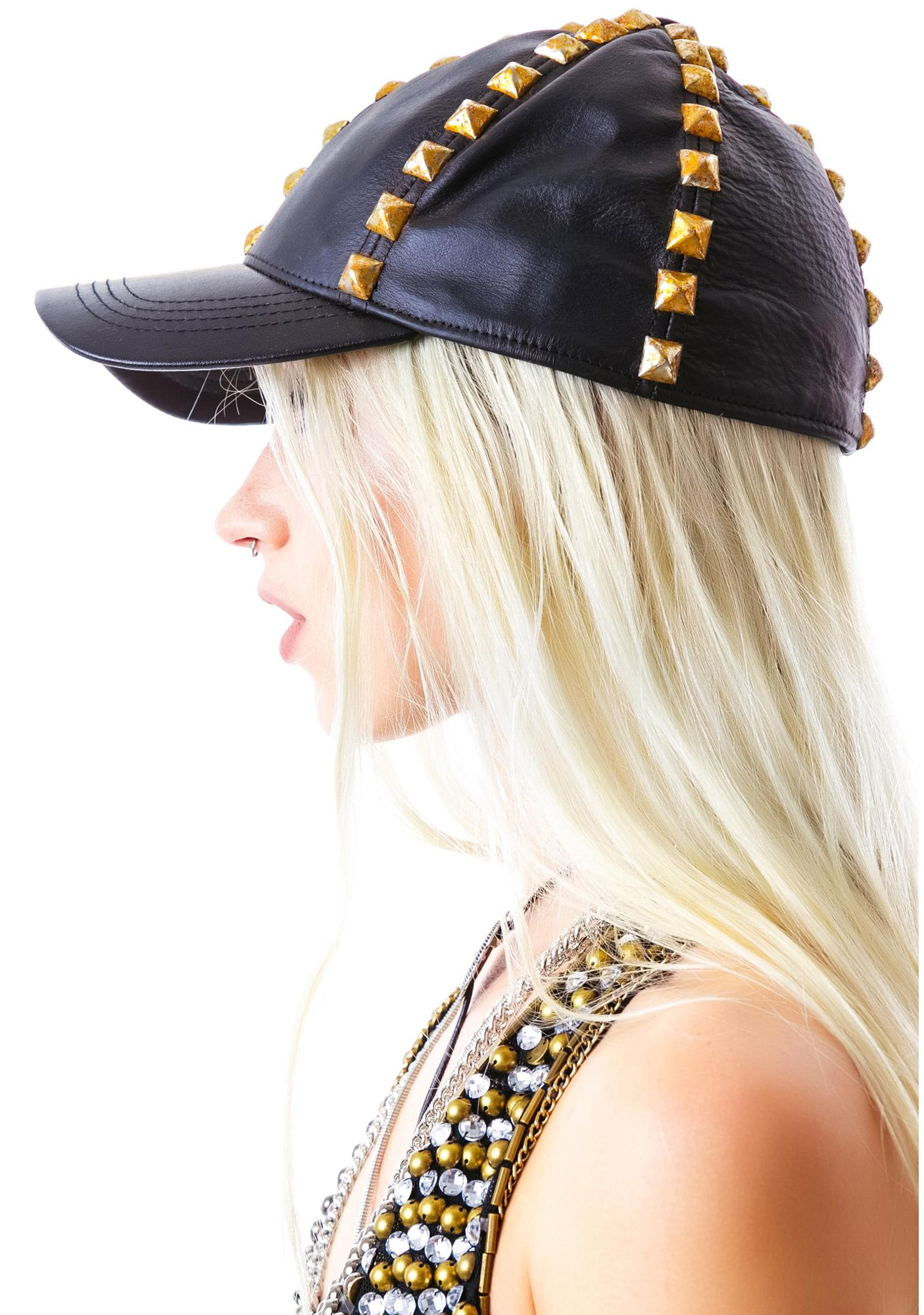 Bess NYC Squatter Studded Leather Cap