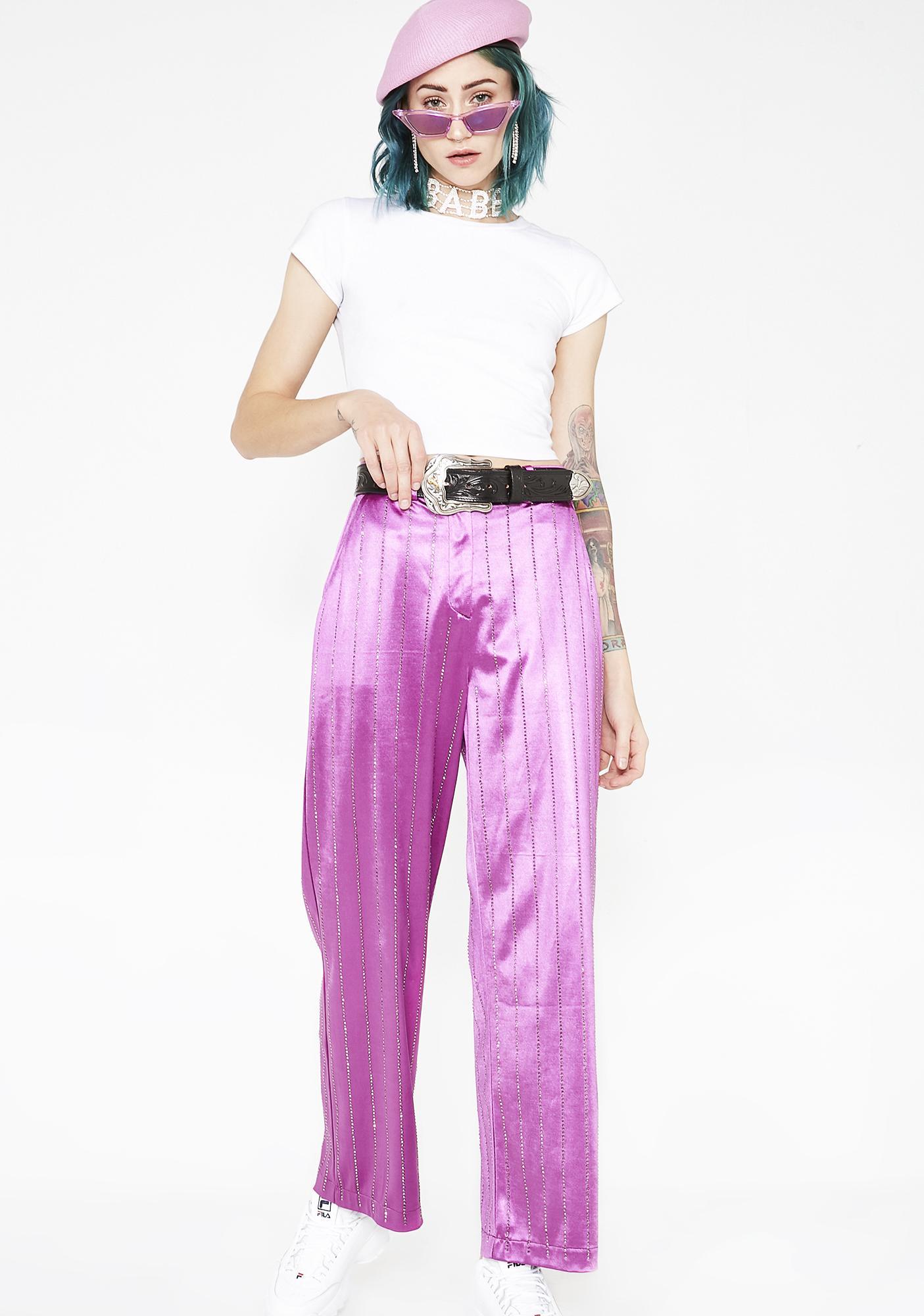 Jaded London Rhinestone Pinstripe Suit Trousers
