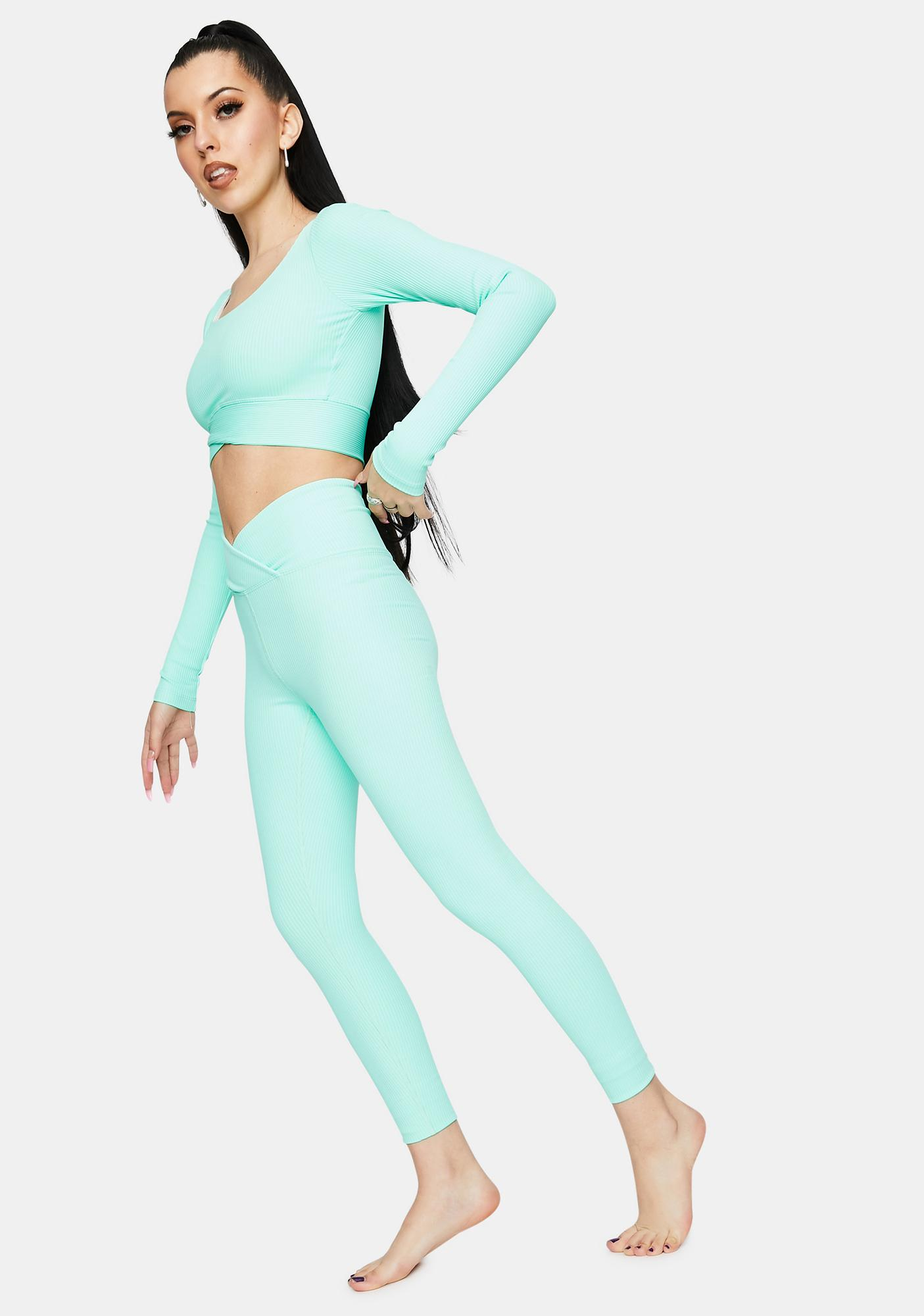 Year Of Ours Mint Veronica Ribbed Leggings