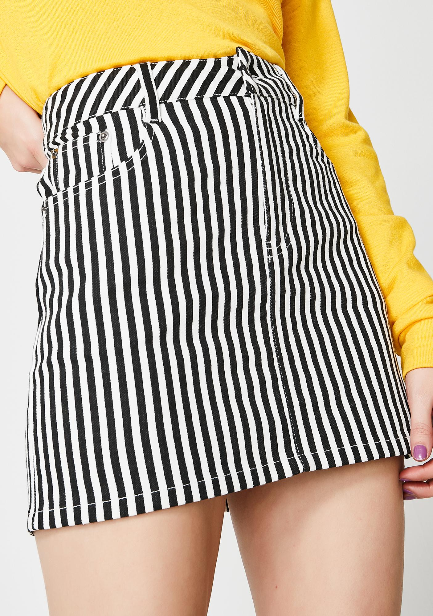 43c1d3eebf Striped Black White Mini Skirt | Dolls Kill