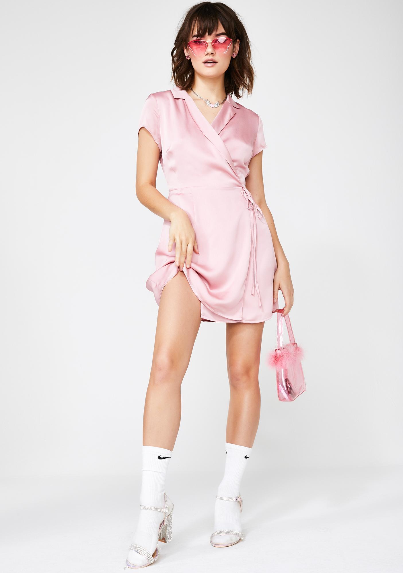 Glamorous Blisstopia Satin Wrap Dress