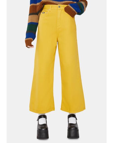 Mustard Yellow Kick Flare Jeans