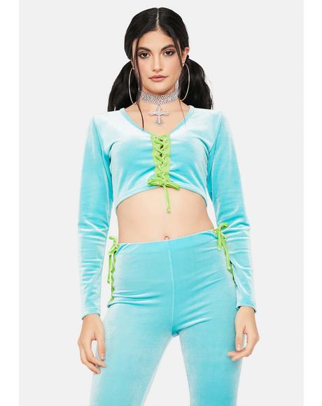 Aqua Stylish Sass Velour Pant Set
