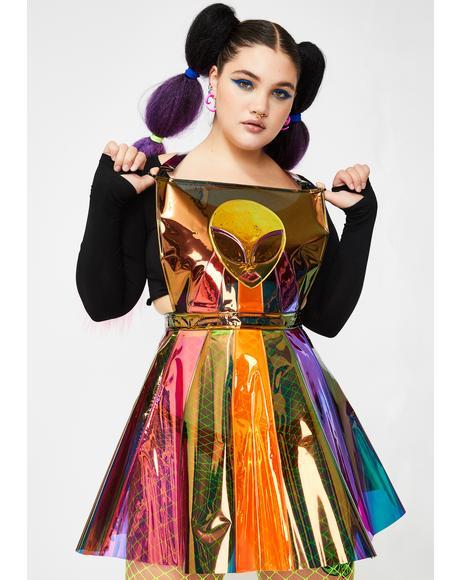 Plz Beam Me Up Hologram Overall Dress