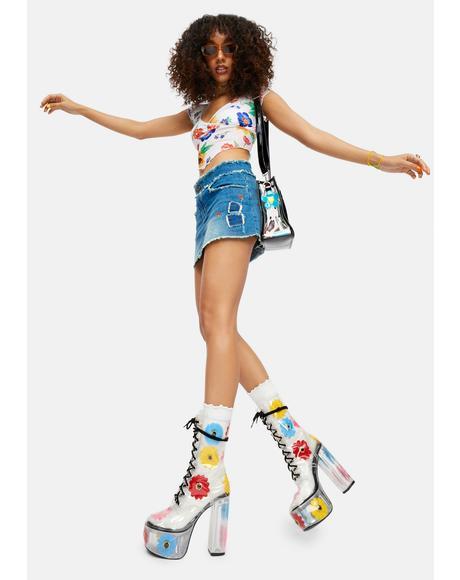 Get Ur Groove On Flower PVC Platform Boots