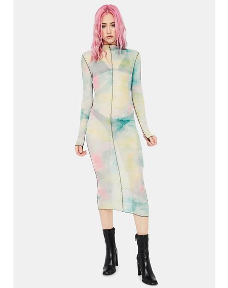 Live A Little Tie Dye Mesh Dress