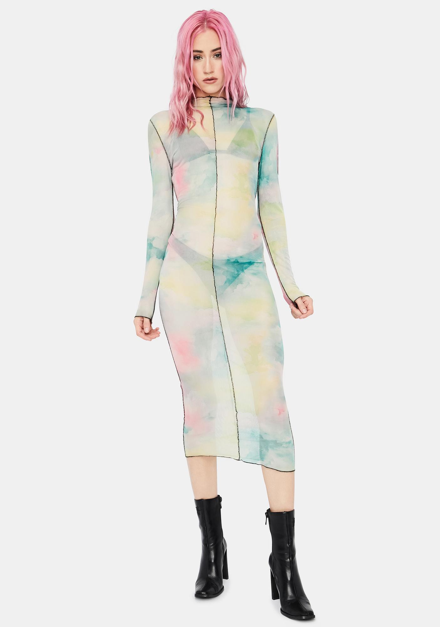 Live A Little Tie Dye Mesh Dress