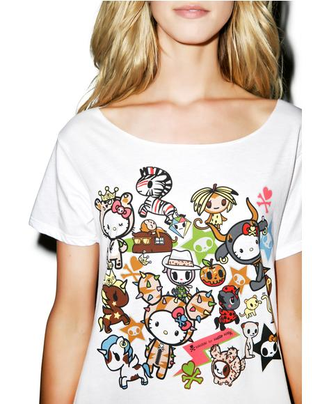 Tokidoki X Hello Kitty Safari Off Shoulder Top