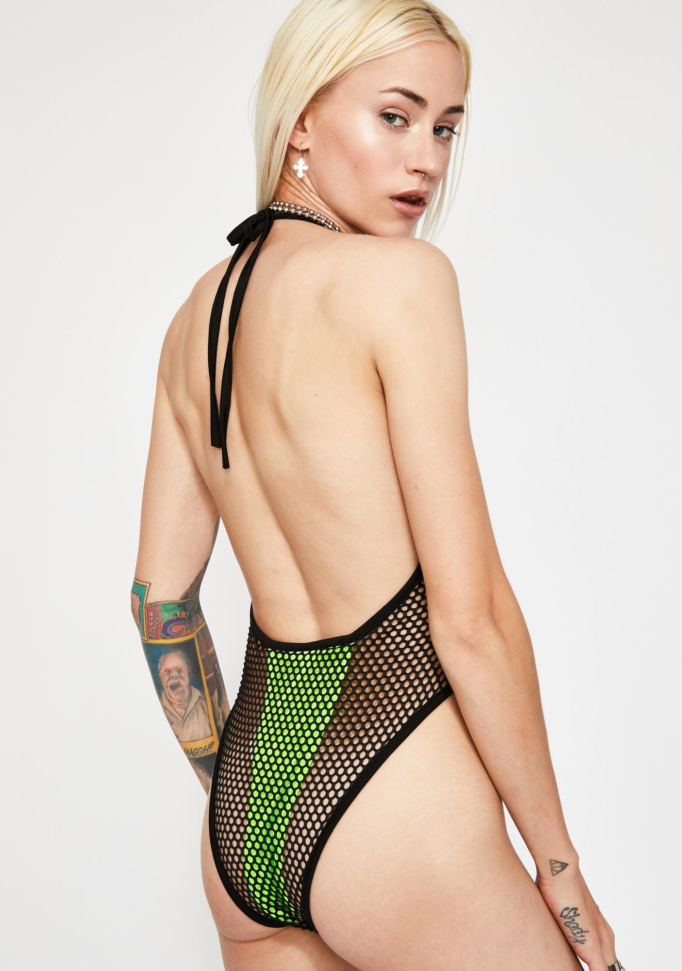 Spaced Out Fishnet Bodysuit