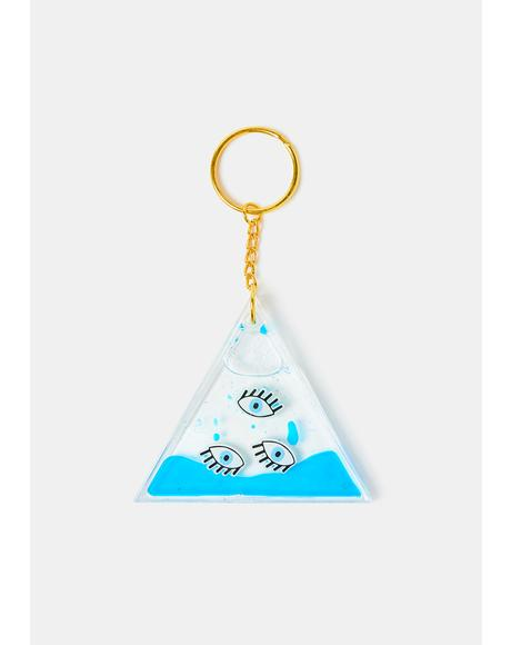 Sea No Evil Aqua Eye Keychain