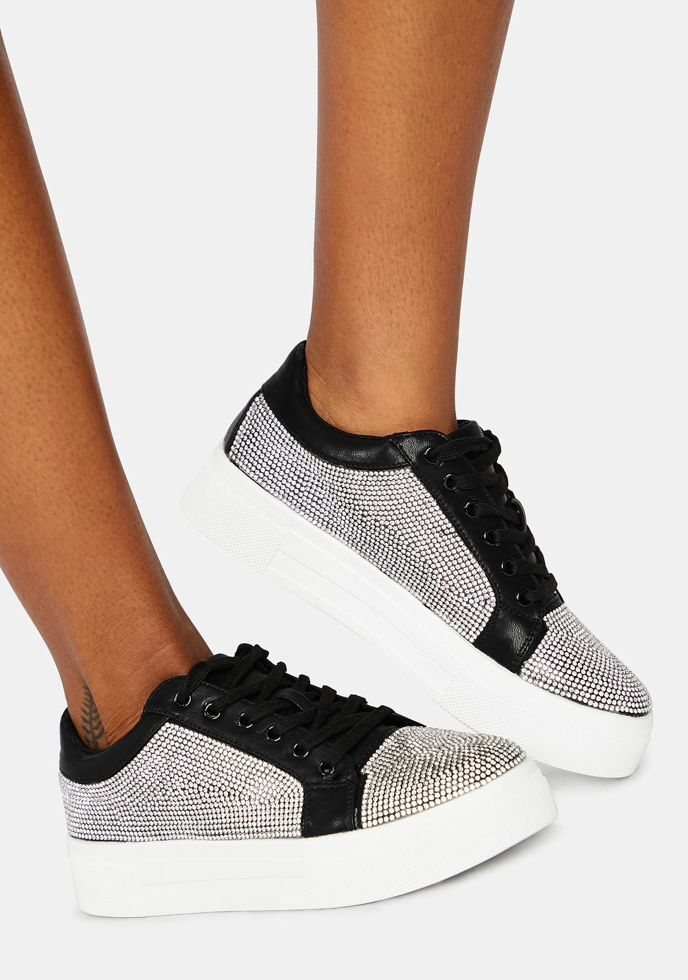 Noir Preppy Polished Rhinestone Sneakers
