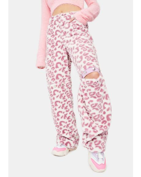 Leopard Print Sherpa Trousers
