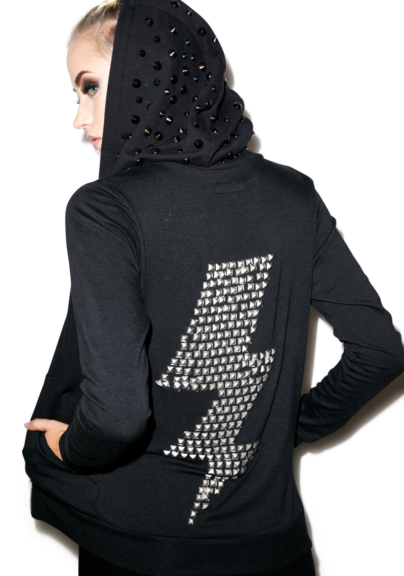 Lauren Moshi Lennon Metal Stud Lightning Zip Up Hoodie