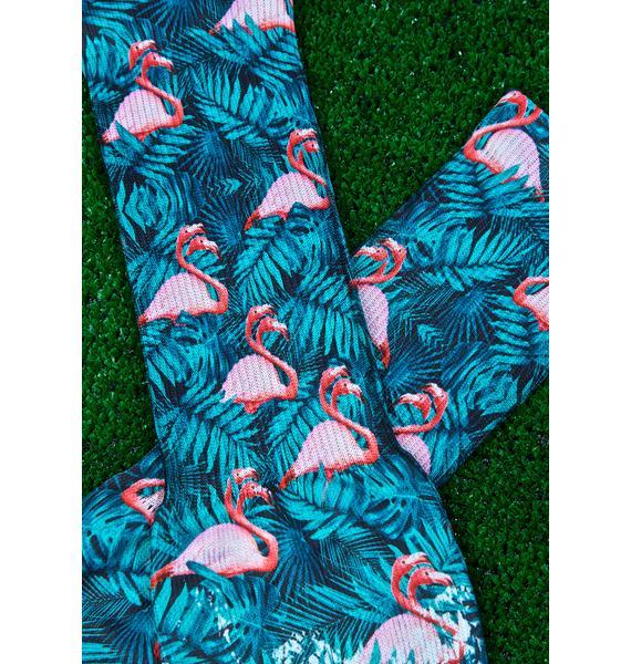 Flamingo Squadron Hibiscus Socks