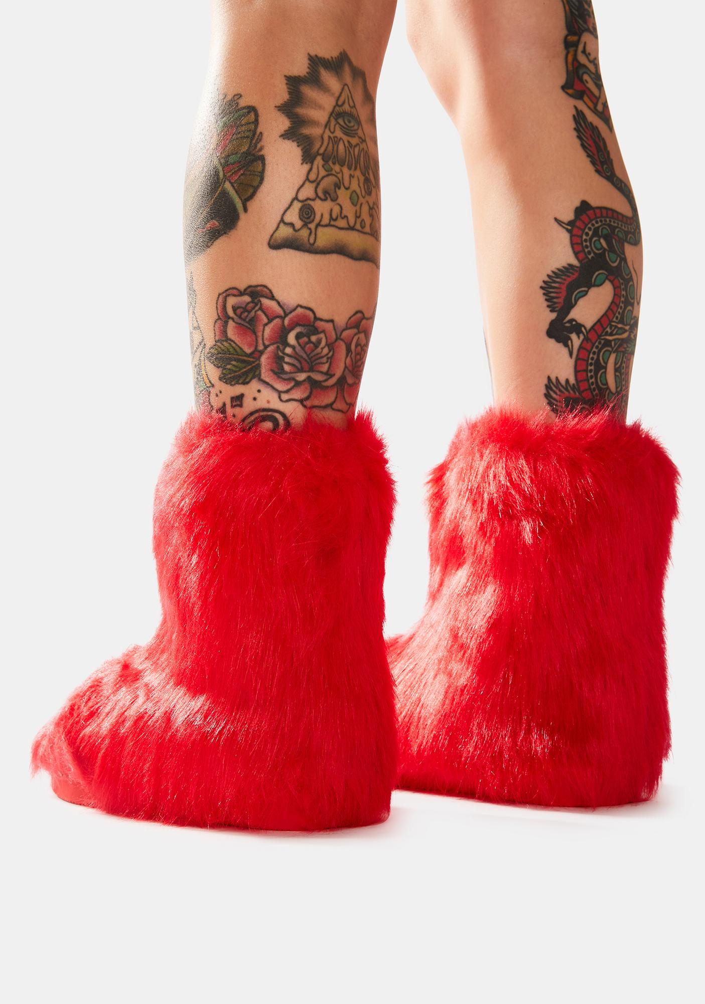 Fire Ginger Snaps Furry Ankle Boots