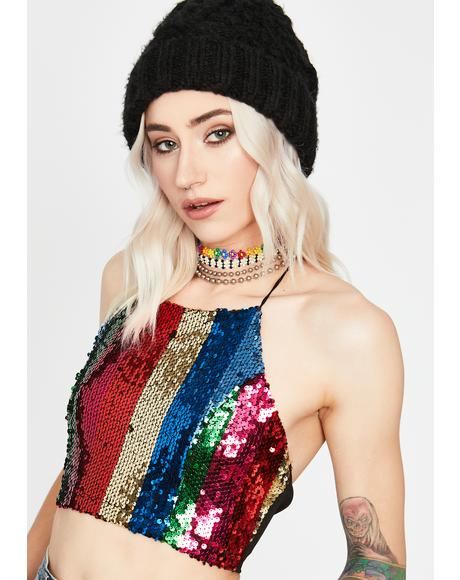 Desert Carnival Sequin Crop Top