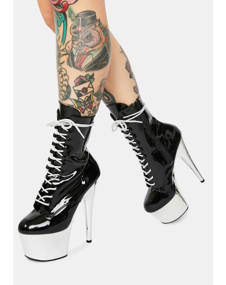 Black And Chrome Adore Lace Up Heels