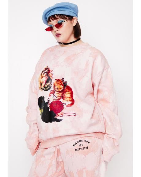 Curve Kitten Peach Tie Dye Sweatshirt