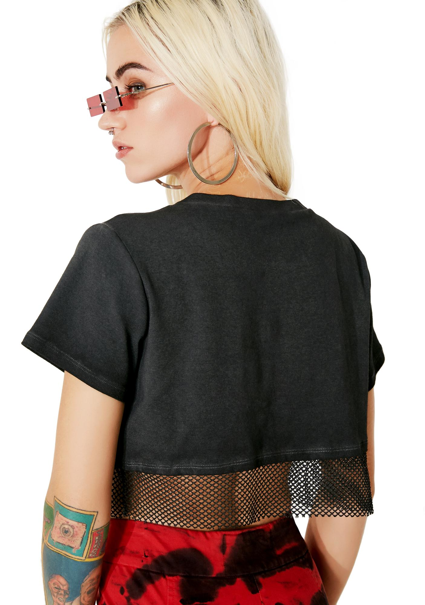 Freak Magnet Fishnet Cropped Tee