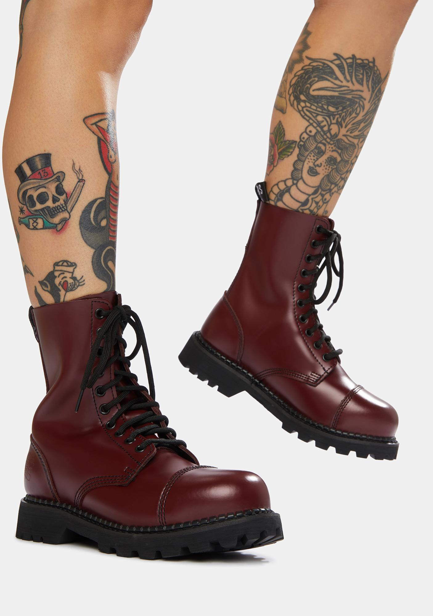 Grinders UK Cherry Red Hunter Derby Boots
