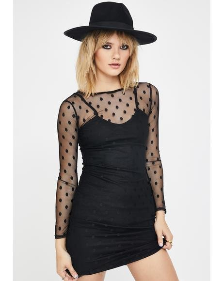 Long Sleeve Mesh Polka Dot Dress