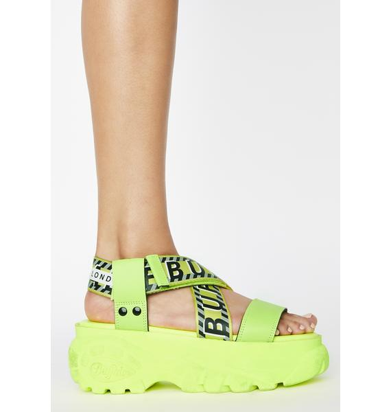 Buffalo London Neon Yellow Bo Platform Sandals