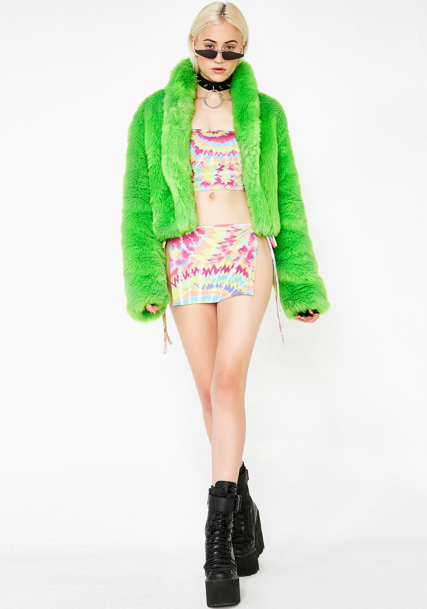 Club Exx Slimed Plush Funk Fur Coat