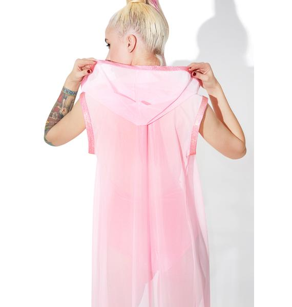 J Valentine Cotton Candy Long Mesh Duster