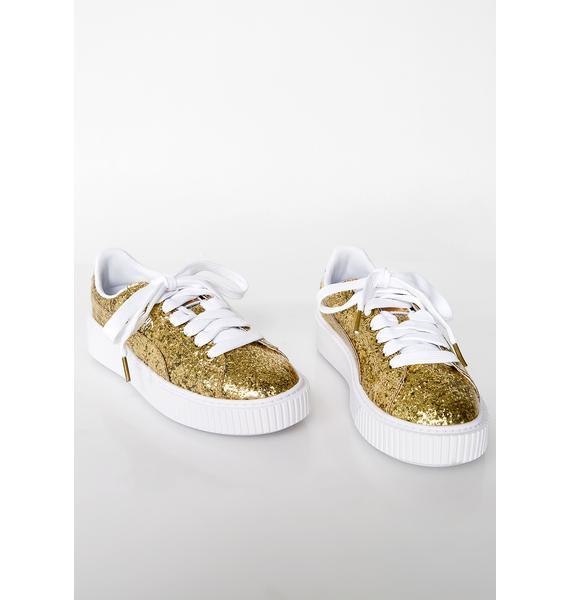 PUMA Basket Platform Glitter Sneakers