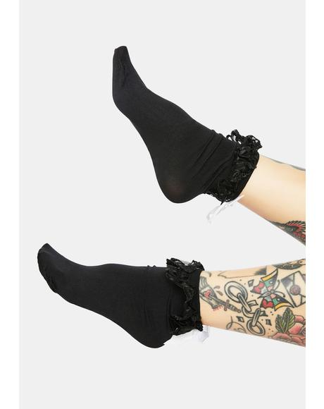 Turn Up The Volume Ruffle Crew Socks