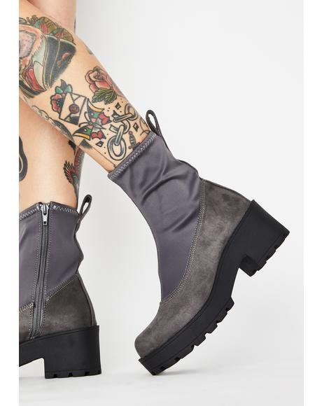 Grey Pace Platform Sock Boots