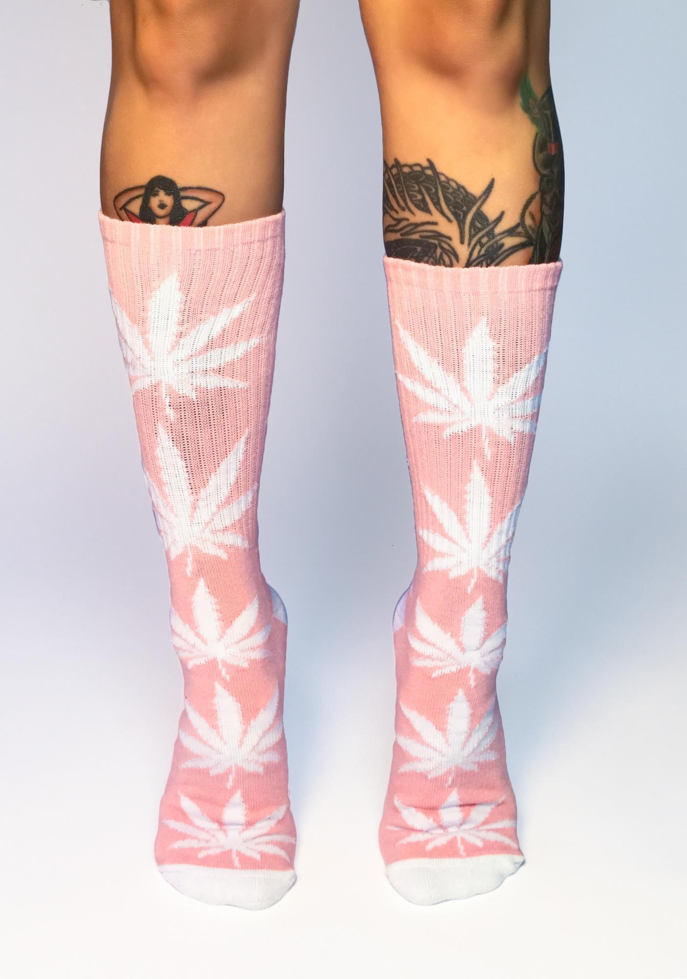 HUF Candy Pink Plantlife Crew Socks