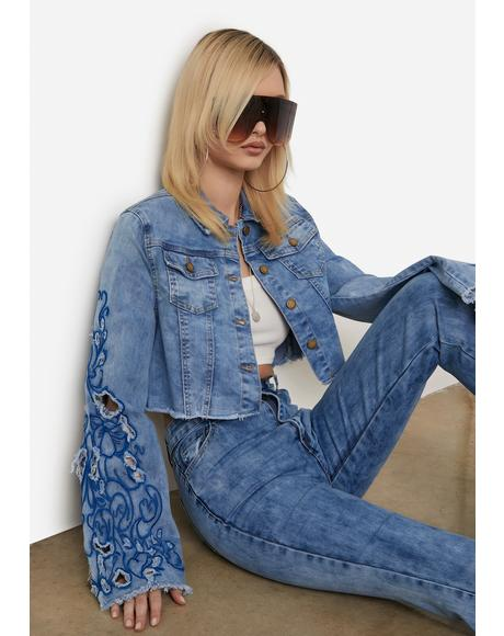 Acid Blue Rooftop Revival Embroidered Denim Jacket