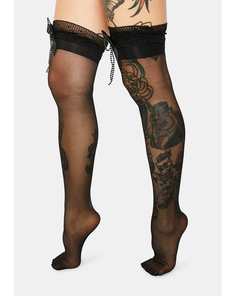 Dark Endlessly Yours Sheer Thigh High Socks
