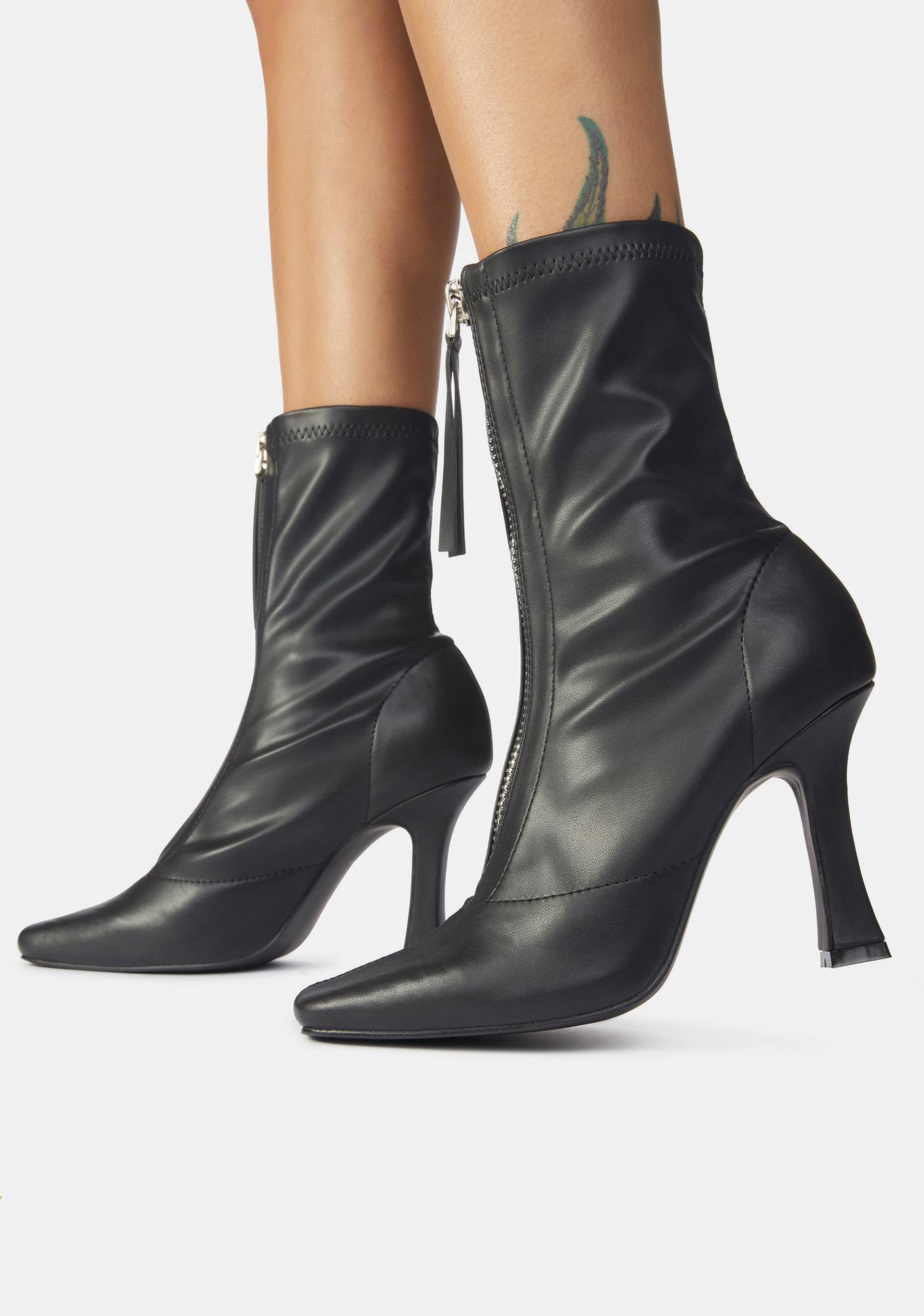 Public Desire Black Peppa Zip Up Ankle Boots