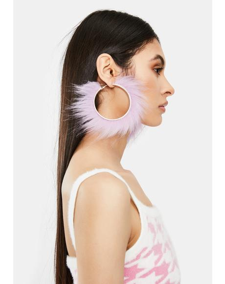 Soft Girl Faux Fur Hoop Earrings