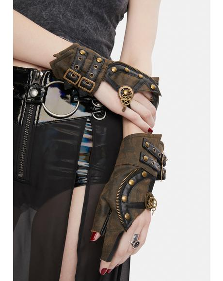 Brown Steampunk Buckle Gloves