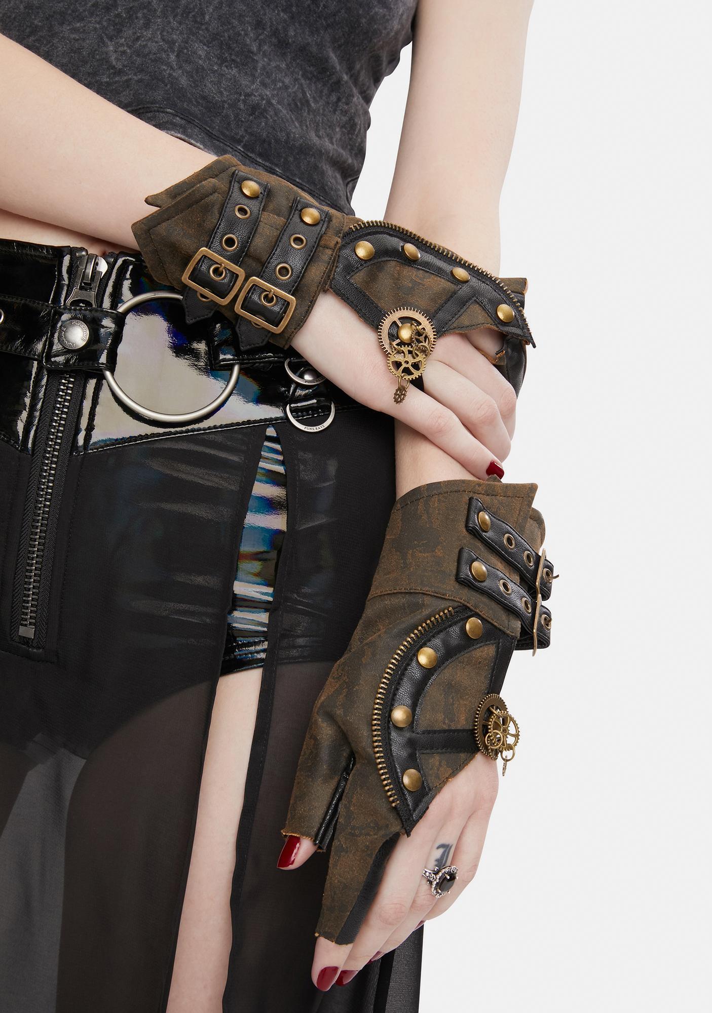 Devil Fashion Brown Steampunk Buckle Gloves