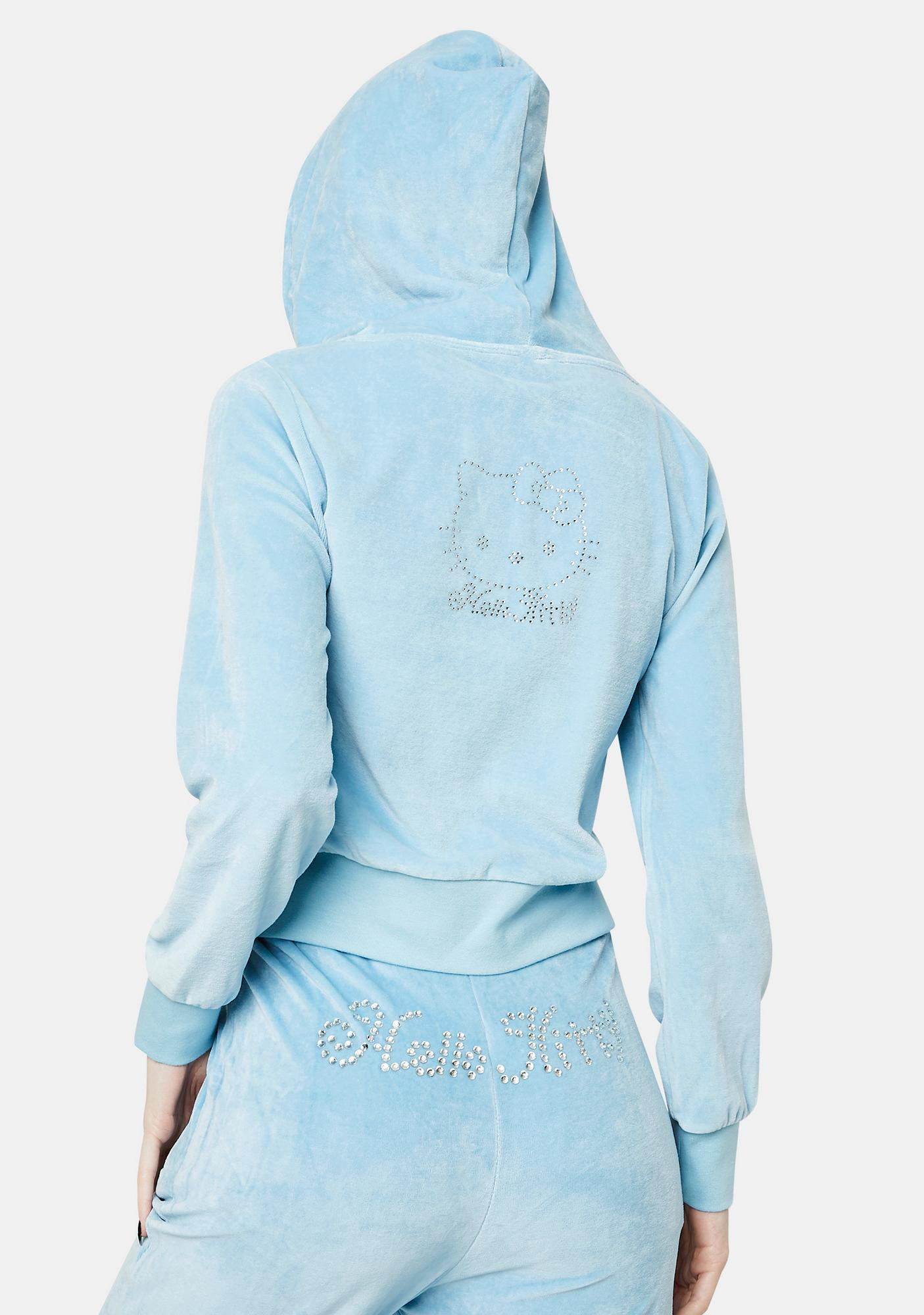 NEW GIRL ORDER Hello Kitty Velour Zip Up Hoodie