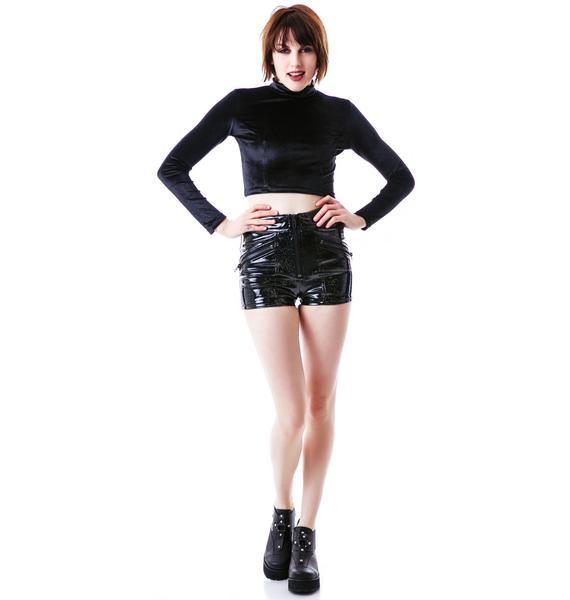 Lip Service Glitter PVC Moto Shorts