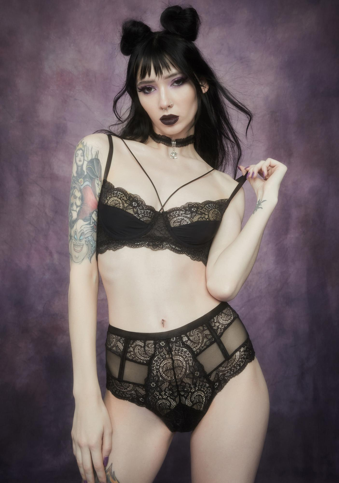 Widow Meaning Of Night Strappy Lace Lingerie Set