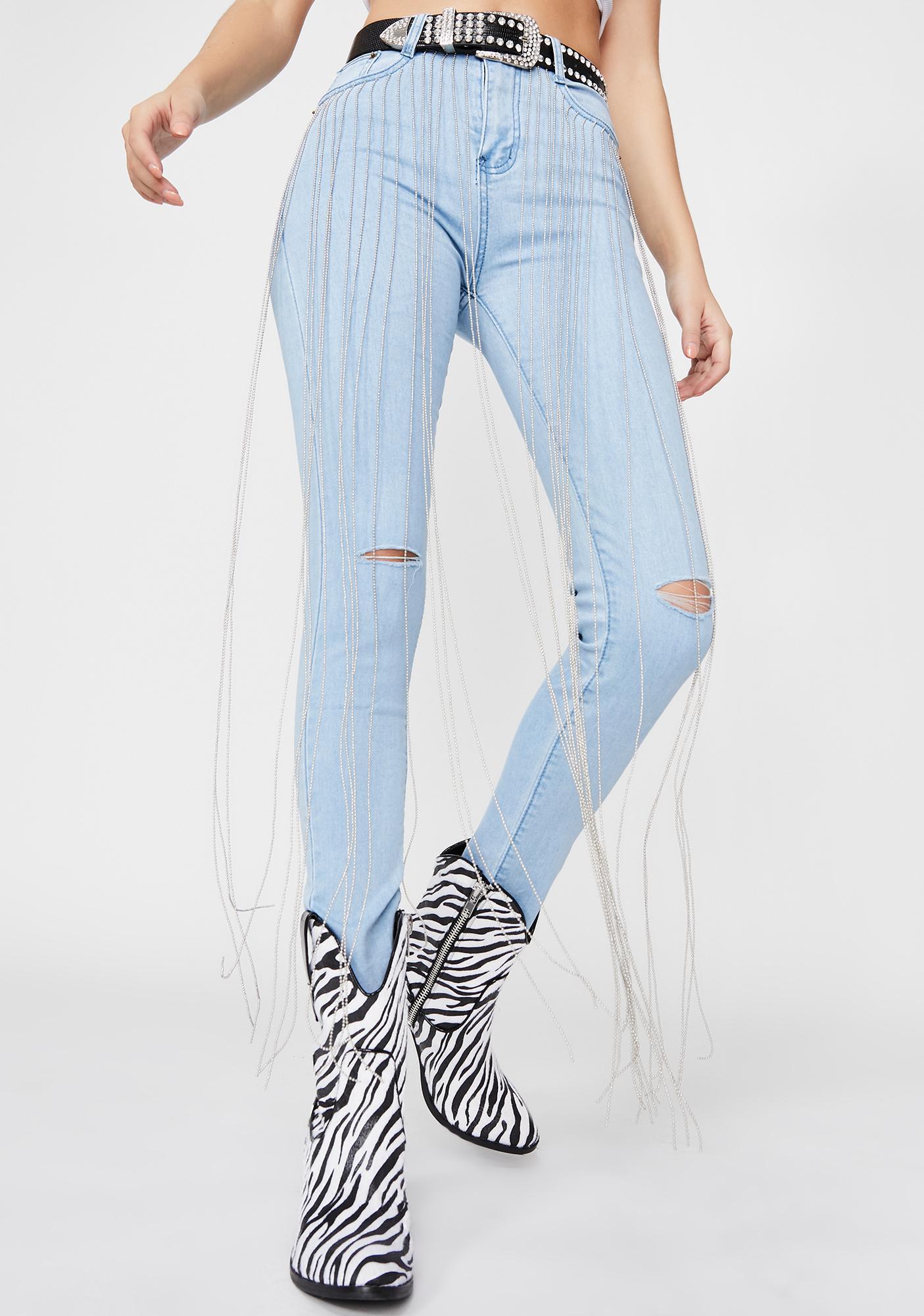 Fallin For Ya Rhinestone Fringe Jeans