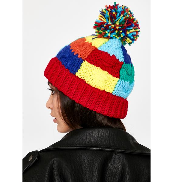 Perfectly Patchworked Knit Beanie