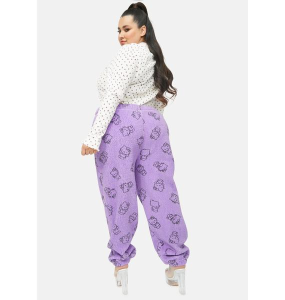 NEW GIRL ORDER Purple Curve Hello Kitty Printed Fleece Joggers