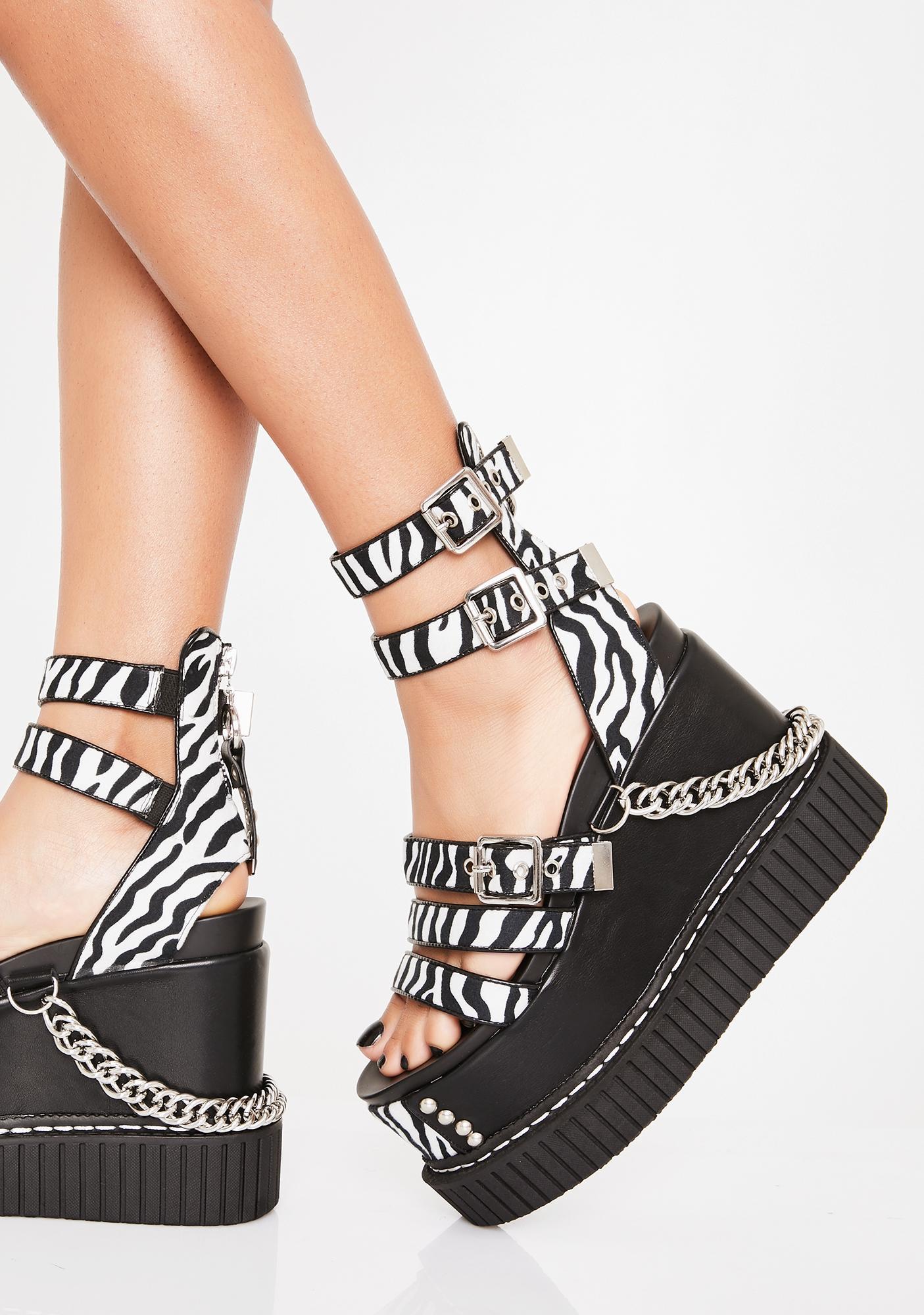 Lamoda Zebra Zing Creeper Wedge Sandal