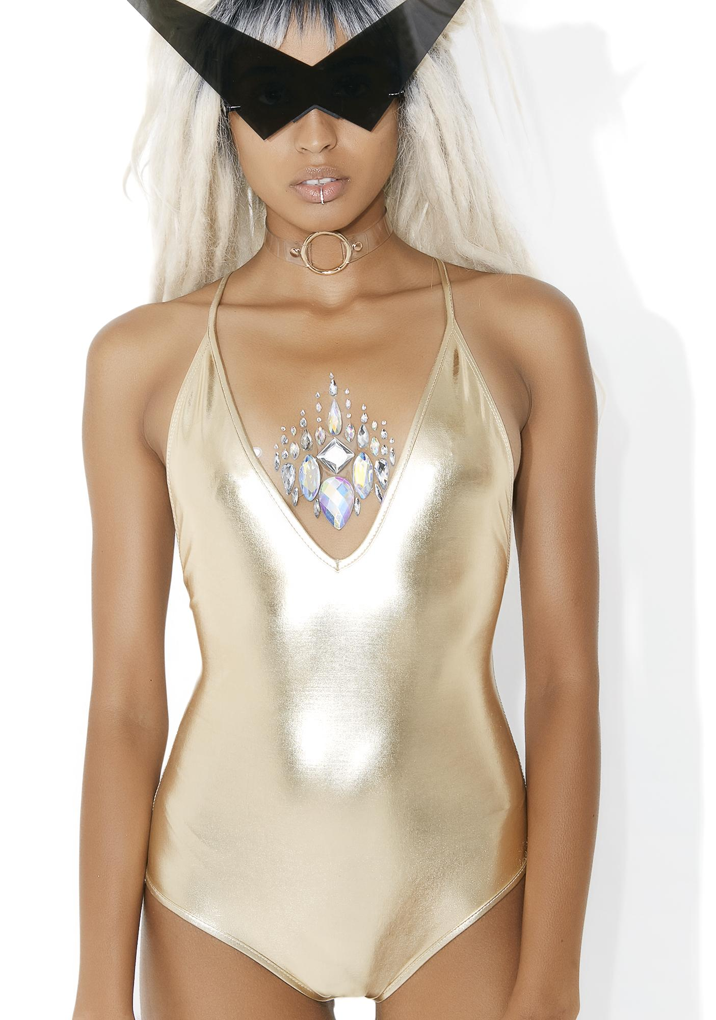 Gold Incandescence Metallic Bodysuit