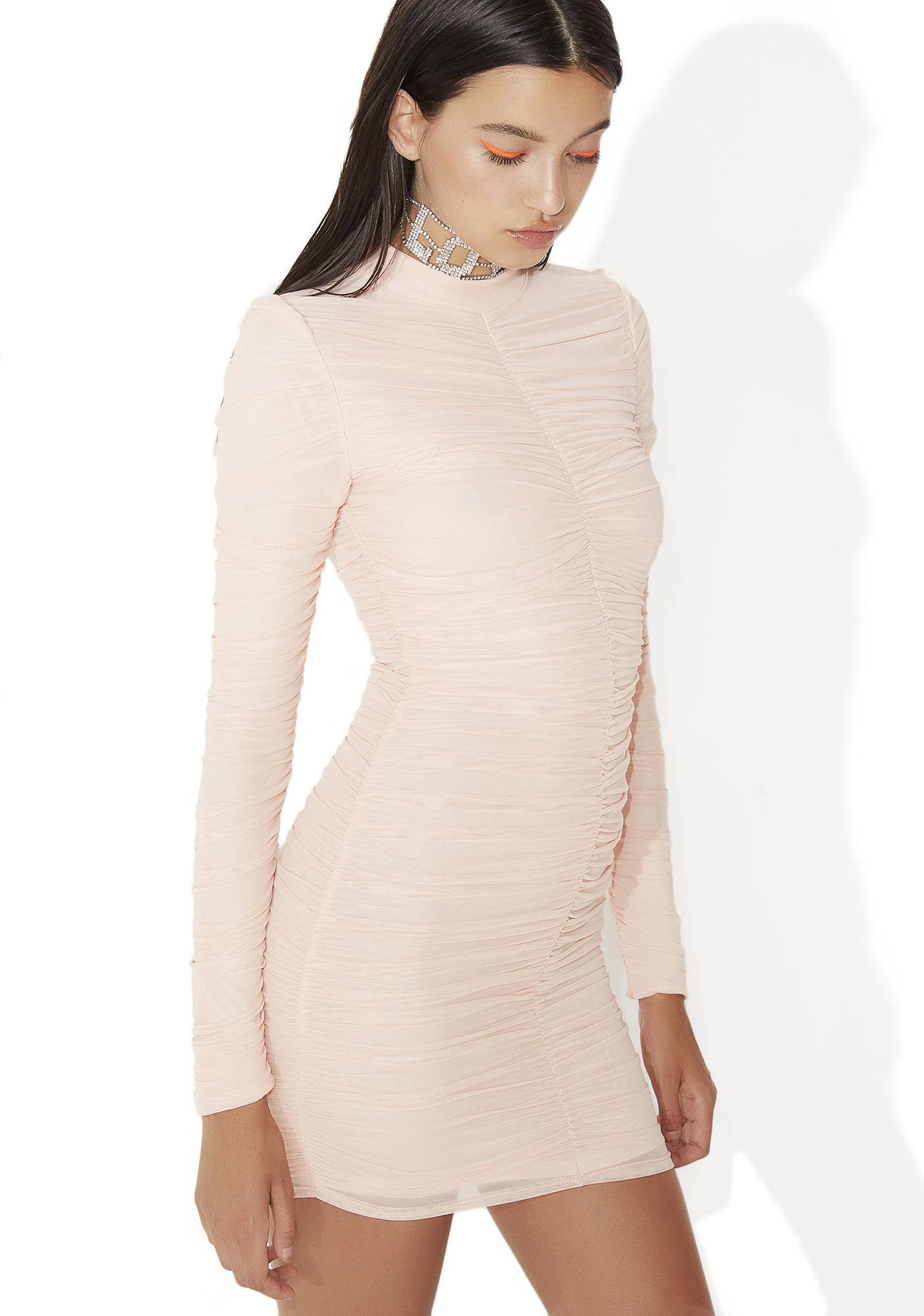Pink Ruched Mesh Bodycon Mini Dress