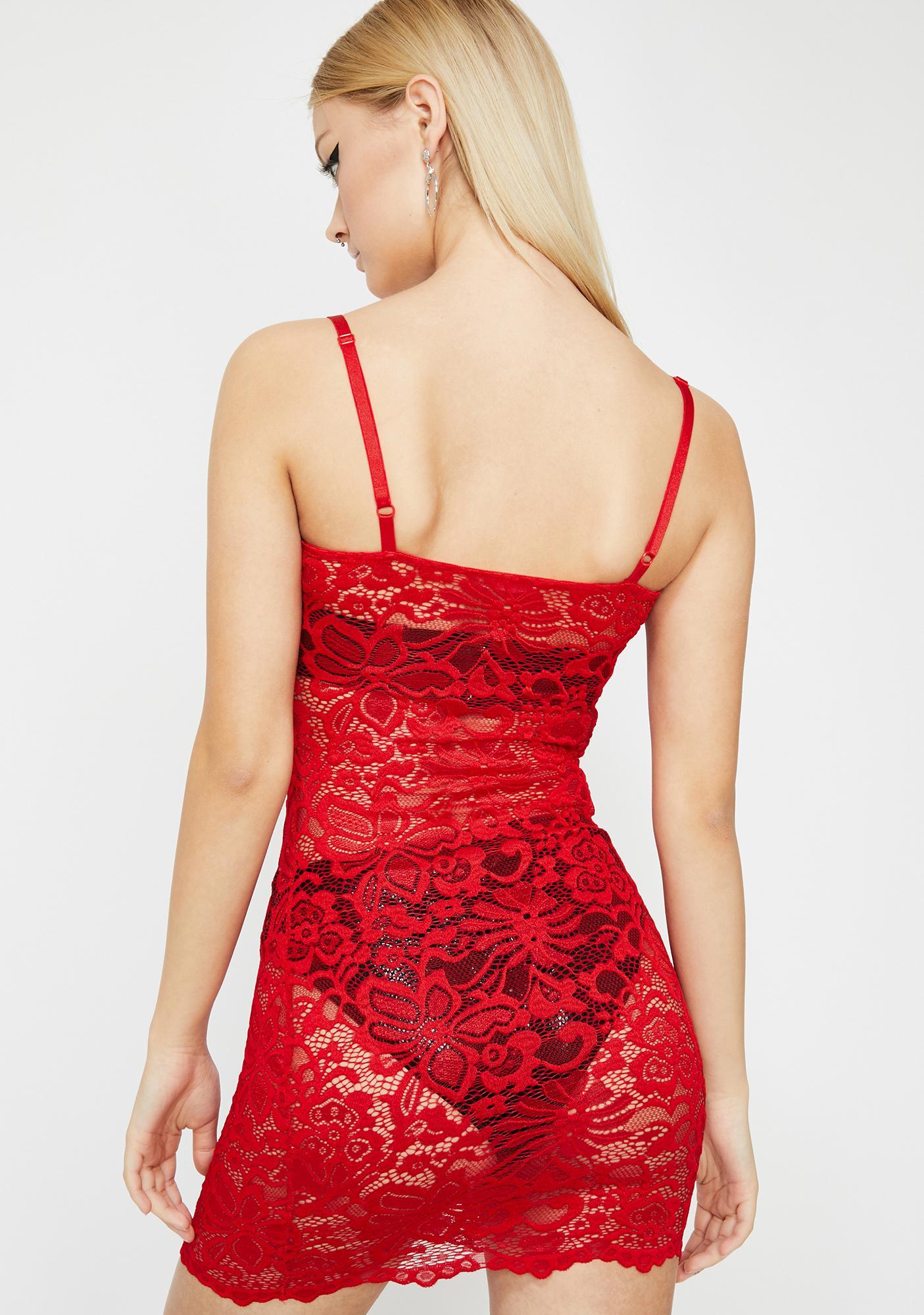 Cherry Hot Pursuit Lace Dress