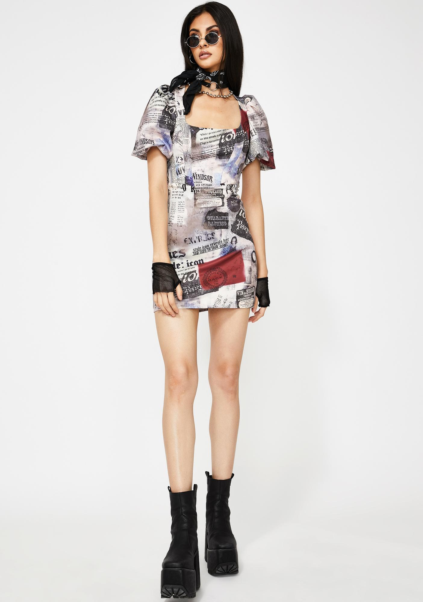 Jaded London Newspaper Print Milkmaid Dress